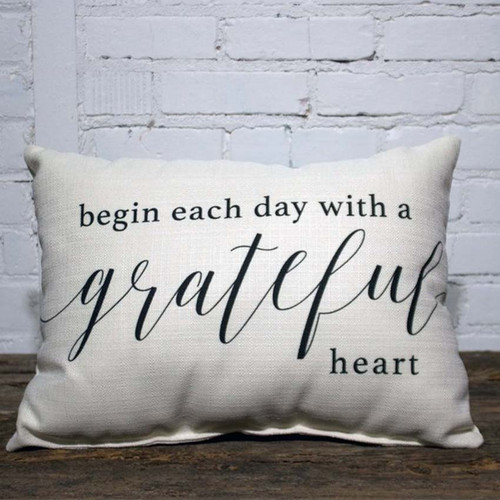 Begin Each Day with a Grateful Heart Pillow, The Little Birdie, an inspirational way to start the day