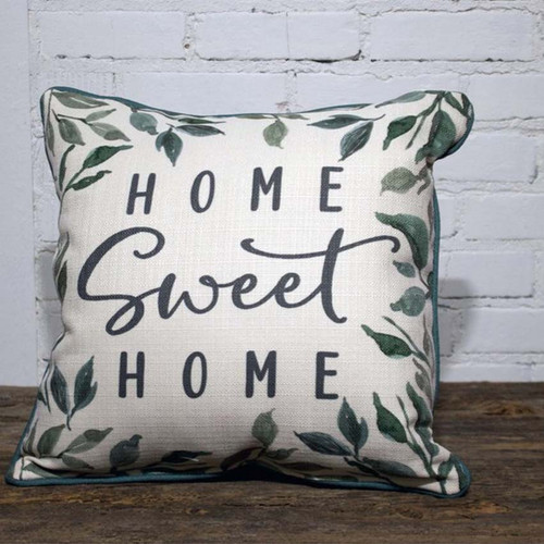 Home Sweet Home Greenery Pillow, surrounded by blue-green piping, The Little Birdie