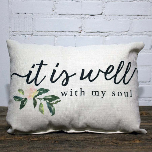 "It is Well with My Soul Pillow, The Little Birdie, from the hymn by Horatio Spafford, ""When peace like a river, attendeth my way, When sorrows like sea billows roll. Whatever my lot, Thou hast taught me to know. It is well, it is well, with my soul."""