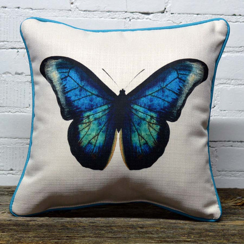 Blue Butterfly Pillow (blue piping), The Little Birdie, bright blue, green, black butterfly on white background, pillow has blue piping