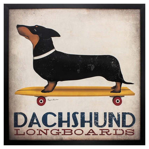 Dachshund Longboards, Propac Images art, black and brown dachshund dog on skateboard