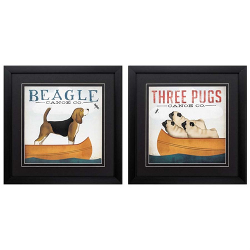 Beagle and Pugs art, Propac Images, beagle and 3 pugs, dogs in a boat, set of 2, ad for Canoe Company