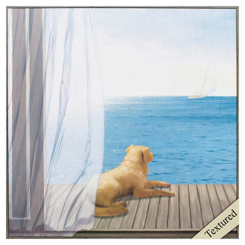 Blue Breeze II art, Propac Images, Golden Retriever dog rests on a porch watching a sailboat on the sea, light gray frame