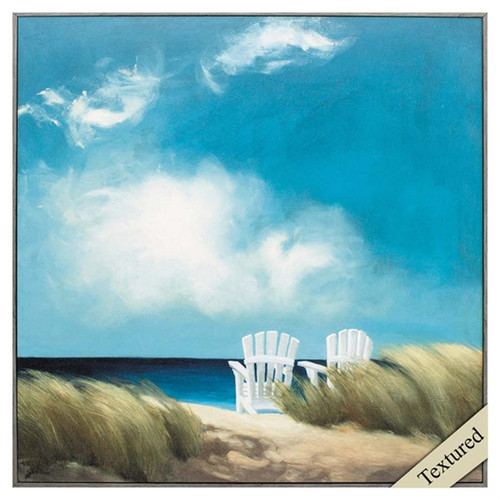 A Perfect Day, textured art, Propac Images, image of two white Adirondack chairs on the beach at ocean-side, the grass blowing in a gentle breeze, a wisp of clouds above in a blue sky
