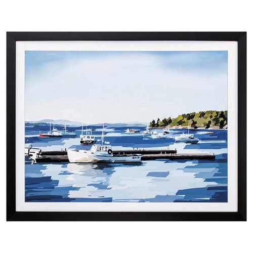 Peaceful Harbor, Propac Images, image of boats at anchor in a quiet cove, black frame