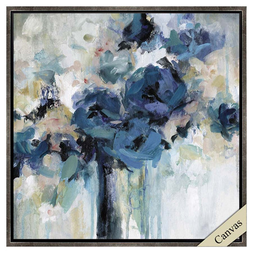 Midnight Splash, Propac Images art, measures 30 inches square, image of blue flowers in a vase, subtle shades of red, taupe, and gray