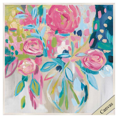 Summer Pink Floral canvas art, Propac Images, abstract image of pink flowers  with the addition of splashes of blue, green, and tan