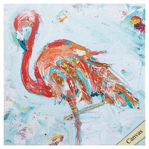 Flamingo Bright, Propac Images, canvas art,  abstract flamingo in bright red with splashes of blue, yellow, and green