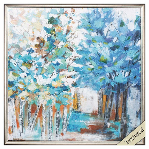 Pathway of Blue, Propac Images, textured art, abstract image of trees, primary color blue with splashes of green, brown, and gold