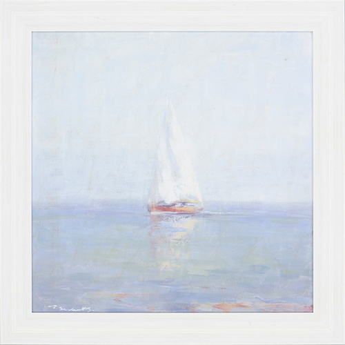 Light Breeze, Paragon Art, Textured Giclée, a lonely sailboat floats along an ocean surface of pastel colors, whitewash wood finish frame,contemporary molding