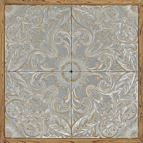 A traditional four panel, silver floral motif with raised metal and rustic wood frame, hang this horizontally or diagonally for added effect