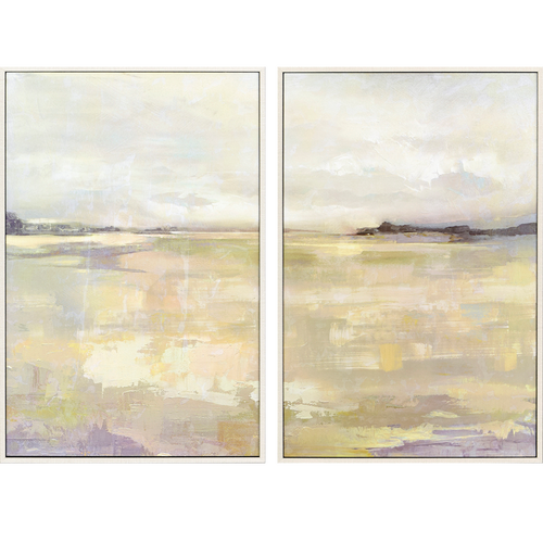 Dyfi, pkg 2, Paragon Abstract art, Tranquil landscapes, dominant colors are yellow and gray, textured print, framed in a champagne gold finish molding