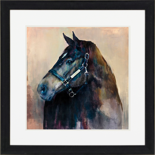 Ritzy Light, Paragon Art,  a majestic black stallion with a silver blaze, matted in white with an espresso finish molding
