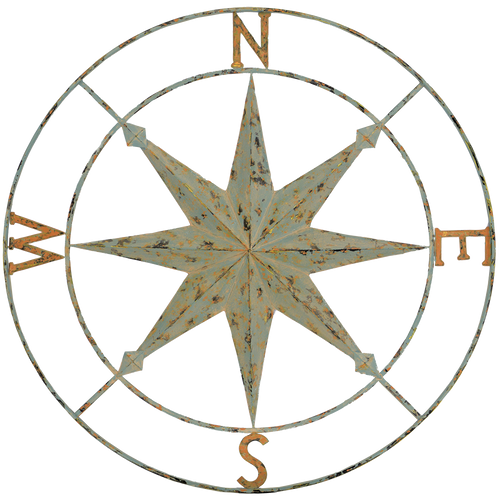 Compass Points, Paragon Metal Art, Compass rose features distressed sage-green color with rust accents