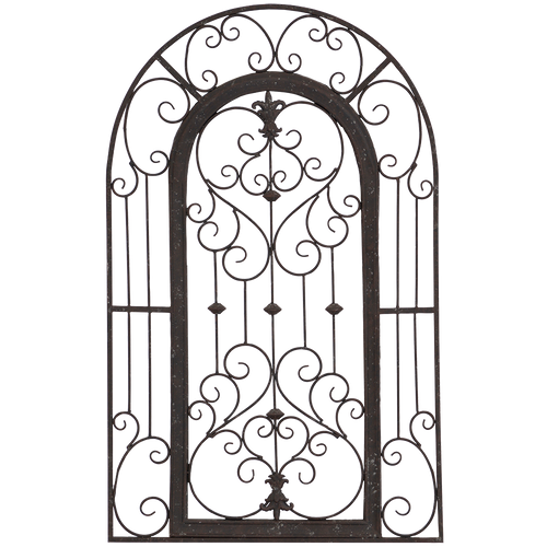 Secret Garden Gate, Paragon metal art,  arched aged finish ornamental scroll-work suitable for windows and over a fireplace