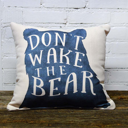 Don't Wake the Bear pillow, The Little Birdie, outline of a bear highlights text, pillow is suitable for papa, mama, and baby bear