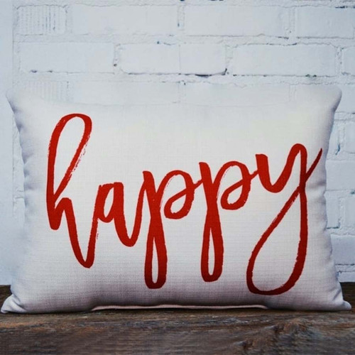 Happy pillow, The Little Birdie, measures 16 inches square, If you are happy and you know it, you have this pillow, sitting beside you on a chair or bed