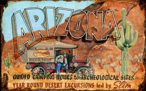 Arizona Slim, Red Horse Signs, vintage art on distressed wood, image of old timer and truck out in the Arizona desert