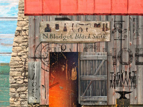 Blacksmith, Red Horse Signs, vintage western art on distressed wood, stone and wood blacksmith shop, open door, fire pit and anvil