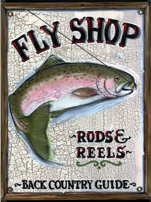 Fly Shop, Red Horse Vintage Signs, vintage art on distressed wood, a Rainbow trout striking a fly, ad for fly shop, rod and reel, back country guide