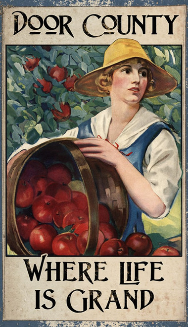 Apple Harvest, Door County, Red Horse Signs, image of girl and a basket of delicious ripe red apples