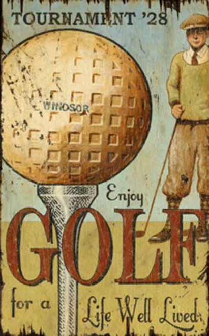 Enjoy Golf, Red Horse Signs, vintage art on distressed wood, image golfer in sweater and tie, knickers, and tam hat, sizes up a golf ball on tee