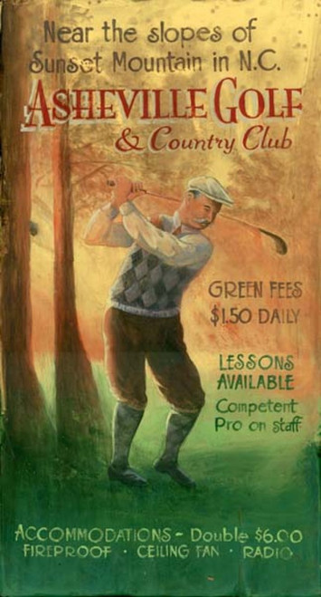 Vintage Golf, Asheville, N.C., Red Horse Sign, vintage art on distressed wood, old-time golfer in cardigan sweater, tam cap, and knickers swings a golf club in the woods