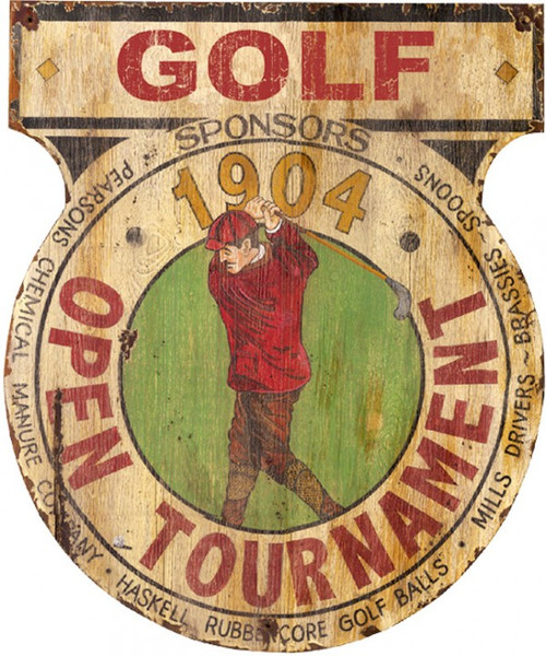 Golf Tournament, Red Horse Signs, vintage art distressed wood,  golfer in red appears on a center medallion for a 1904 open golf tournament