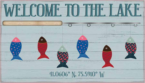 Welcome to the Lake Fishing, Red Horse Signs, vintage art on distressed wood, image of fishing poles and multi-colored fish