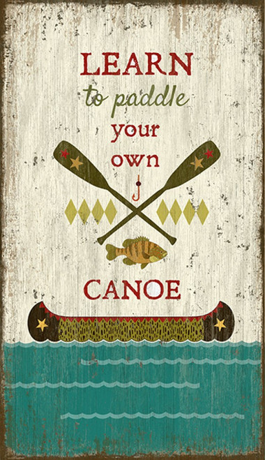 Paddle Canoe, Red Horse Signs, Suzanne Nicoll image of canoe, water, fish, and paddle on distressed wood