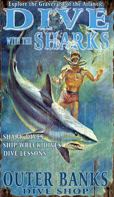 Sharks, Red Horse Signs, vintage art on distressed wood, image of scuba diver and shark in the ocean