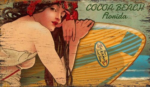 Surfer Girl, Red Horse Signs, vintage art on distressed wood, image of 30's stunning brunette and surfboard