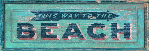This Way to the Lake, Red Horse Signs, vintage art on distressed wood, because sometimes in life we need a little direction.