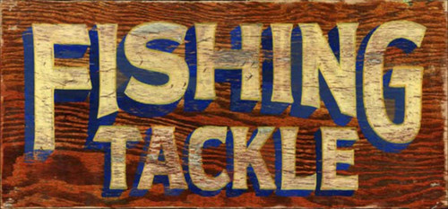 Fishing Tackle, Red Horse Signs, vintage art on distressed wood, a great gift for every fisherman, a surprise for the angler