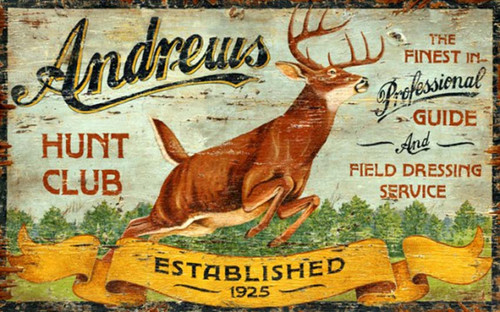 Andrews Hunt Club, Red Horse Signs, vintage art on distressed wood, running deer on field background and blue sky