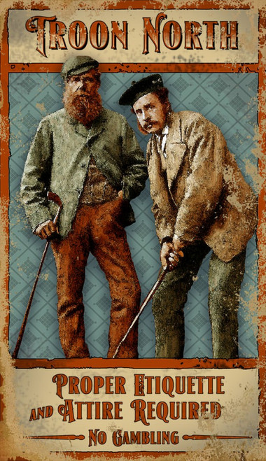 Troon North, Red Horse Signs, vintage golf art on distressed wood,  two Scottish golfers in cap and tam address the ball