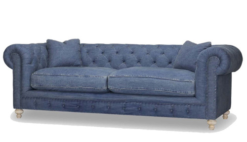 Greenwich Tuxedo Sofa, Spectra Home, Desi Blue Denim, faded blue jean look for the casual lake house, blend down seat, and tight back, back cushion. Measures 96 inches wide.
