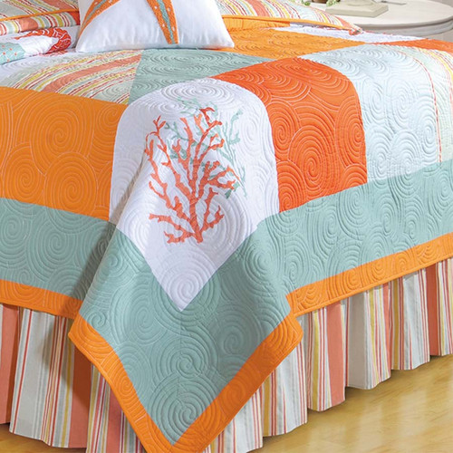 Fiesta Key Queen Quilt, C and F Home, Swirling embroidery on quilted solid blocks of tangerine, sea green, and taupe with coral, seahorses, and starfish. Reverses to St. Martin Blue Stripes, Poly-Filled, Pre-washed, Luxury Oversized