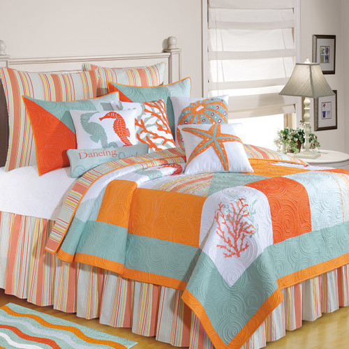 Fiesta Key Queen Quilt, C and F Home, Swirling embroidery on quilted solid blocks of tangerine, sea green, and taupe solids with coral, seahorses, and starfish. Reverses to St. Martin Blue Stripes, Poly-Filled, Pre-washed, Luxury Oversized, room view