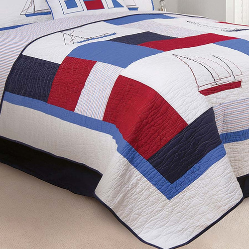 North Shore Queen Quilt, C & F Home, alternating solid blocks in red, white and blue and sailboats, embroidered with waving stitches, blue edge, detail view