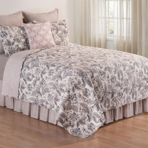 Aurelia Queen Quilt Set, C and F Home, Quilt and 2 Shams, embroidered with a floral pattern in shades of grey and blue on white, traditional bedding for lovely room décor.