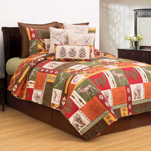 Keaton Forest Bedding Set, Quilt and 2 Shams, C and F Home, multi-colored alternating panels with moose, bear, fish and other animals, along with leaves and paddles, the perfect way to bring the great outdoors inside