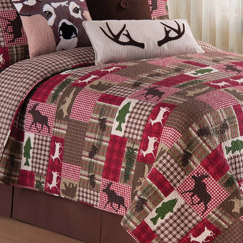 Happy Camper Bedding Set, Quilt and 2 Shams, C and F Home, this colorful block quilt has a multitude of plaids with the creatures of the forest added in: deer, fish, moose and bear, then add a tree or two and some pine cones, perfect for the mountain lodge. Reverse side, plaid, detail view.