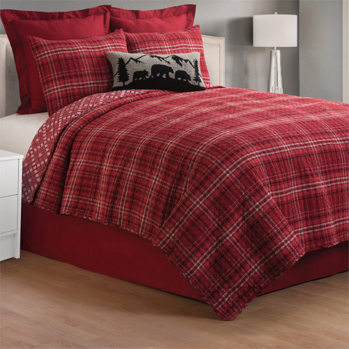 Andrew Red Bedding Set, Queen Quilt and 2 Shams, C and F Home, traditional red Scottish plaid, reversible red and off-white diamond pattern