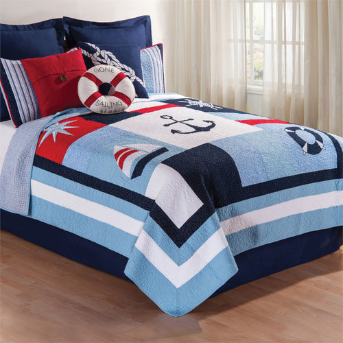 Noah Queen Quilt, C and F Home, ahoy matey, this nautical print features an anchor, compass, wheel, life preserver and a sailboat on large multi-colored square panels