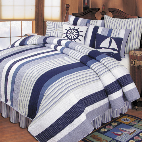 Nantucket Dream Queen Quilt, C and F Home, blue is bold, stripes carry the day, colors of soothing blues, off-white, and mysterious gray, a gorgeous addition to any bed