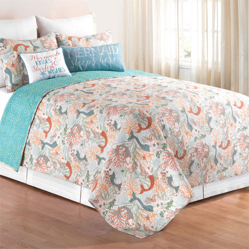 Dancing Waters Bedding Set, Queen Quilt and 2 Shams, each night make a little girl's dream of becoming a mermaid come true