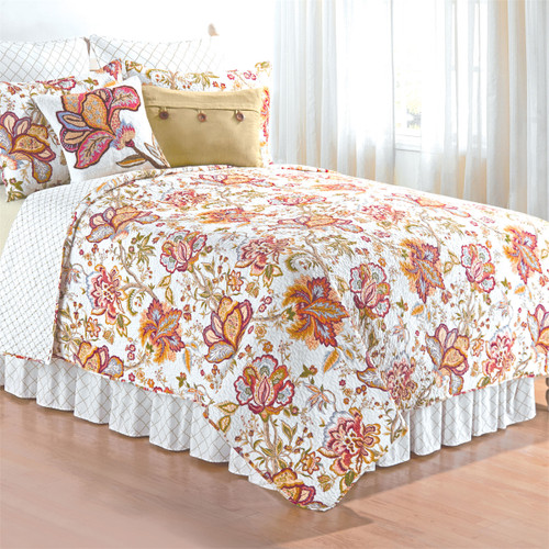 Bethany Quilt Set, Queen Quilt and 2 Shams, C and F Home, a rich colorful design worthy of William Morris, a style that is Arts And Crafts and Boho-chic, reds, pinks, blues, and golds that present a feast for the eye
