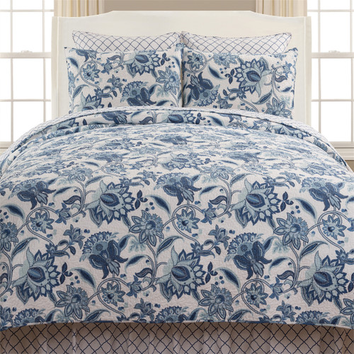 Julianna Queen Quilt Set, Queen Quilt and 2 Shams, C and F Home, deep blue and pastel Jacobean florals bloom on leafy vines against the clean white ground