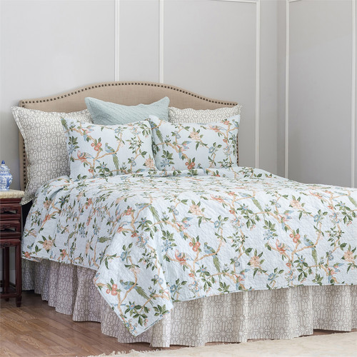 Marianne Queen Quilt, C and F Home, a Williamsburg design and an Arts and Crafts motif,  exotic birds lovingly rest on vines, multi-color flora on a white background